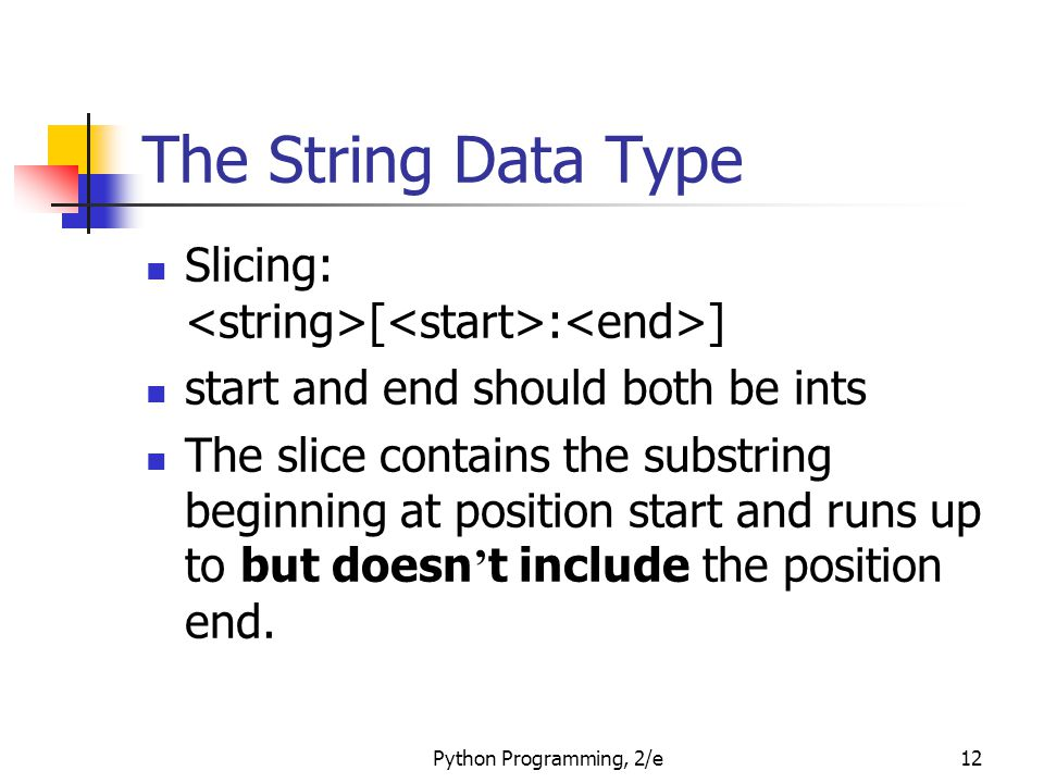 The String Data Type Slicing: <string>[<start>:<end>] start and end should both be ints.